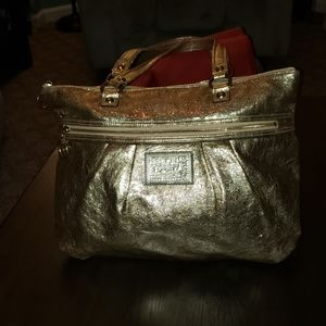 Coach Poppy Glam Gold Metallic Large Tote Bag
